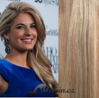 Clip in pás 100% lidské remy vlasy 51 cm vlnitý světlý melír #12/613