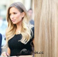 Clip in pás 100% lidské remy vlasy 51 cm vlnitý platina/světle hnědá #60/16