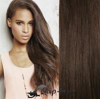 Clip in pás 100% lidské remy vlasy 61 cm vlnitý tmavě hnědá #2