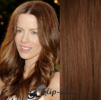 Clip in pás 100% lidské remy vlasy 61 cm vlnitý středně hnědá #6