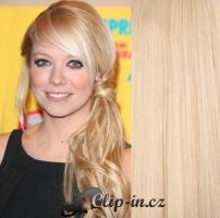 Clip in pás 100% lidské remy vlasy 61 cm vlnitý nejsvětlejší blond #613