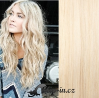 Clip in pás 100% lidské remy vlasy 61 cm vlnitý platina #60