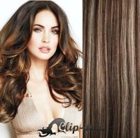 Clip in pás 100% lidské remy vlasy 61 cm vlnitý tmavý melír #4/27