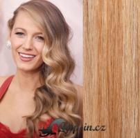 Clip in pás 100% lidské remy vlasy 61 cm vlnitý přírodní/světlejší blond #18/22
