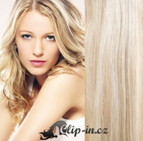 Clip in pás 100% lidské remy vlasy 61 cm vlnitý platina/světle hnědá #60/16