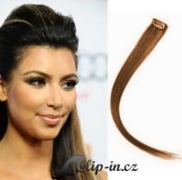 Clip in pramínek 100% lidské remy vlasy světle hnědá #12