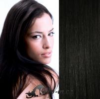 Clip in vlasy 41 cm, 100 g - uhlově černá #1