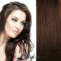 Clip in vlasy 41 cm, 100 g - středně hnědá #6