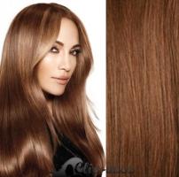 Clip in vlasy 41 cm, 100 g - světle hnědá #12