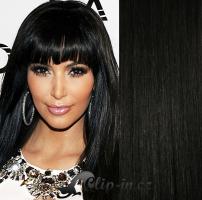 Clip in vlasy 51 cm, 100 g - uhlově černá #1
