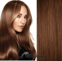 Clip in vlasy 51 cm, 100 g - středně hnědá #6