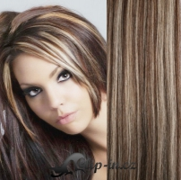 Clip in vlasy 51 cm, 100 g - tmavý melír #4/27