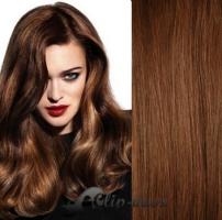 Clip in vlasy 61 cm, 120 g - středně hnědá #6