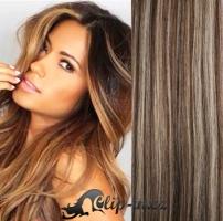 Clip in vlasy 61 cm, 120 g - tmavý melír #4/27