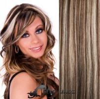 Clip in vlasy 61 cm, 120 g - melír blond/čokoládově hnědá #4/22