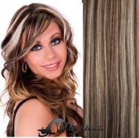 Clip in vlasy 71 cm, 140 g - melír blond/ čokoládově hnědá #4/22