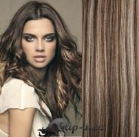 Clip in vlasy kudrnaté 51 cm, 100 g - tmavý melír #4/27