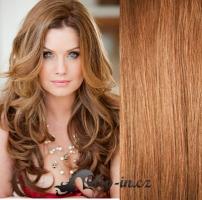 Clip in vlasy vlnité 51 cm, 100 g - světle hnědá #12