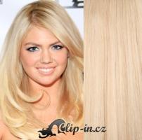 Clip in vlasy vlnité 51 cm, 100 g - nejsvětlejší blond #613