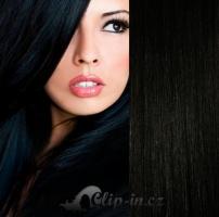 DELUXE clip in vlasy 41 cm, 140 g - uhlově černá #1
