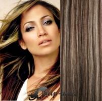 DELUXE clip in vlasy 41 cm, 140 g - tmavý melír #4/27
