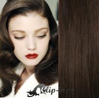 DELUXE clip in vlasy 51 cm, 200 g - tmavě hnědá #2