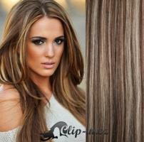 DELUXE clip in vlasy 51 cm, 200 g - tmavý melír #4/27