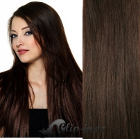 DELUXE clip in vlasy 61 cm, 240 g - tmavě hnědá #2