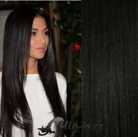 DELUXE clip in vlasy 71 cm, 280 g - uhlově černá #1