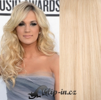 DELUXE kudrnaté clip in vlasy 51 cm, 200 g - nejsvětlejší blond #613