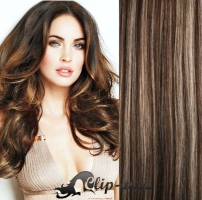 DELUXE kudrnaté clip in vlasy 51 cm, 200 g - tmavý melír #4/27