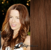 DELUXE vlnité clip in vlasy 51 cm, 200 g - středně hnědá #6
